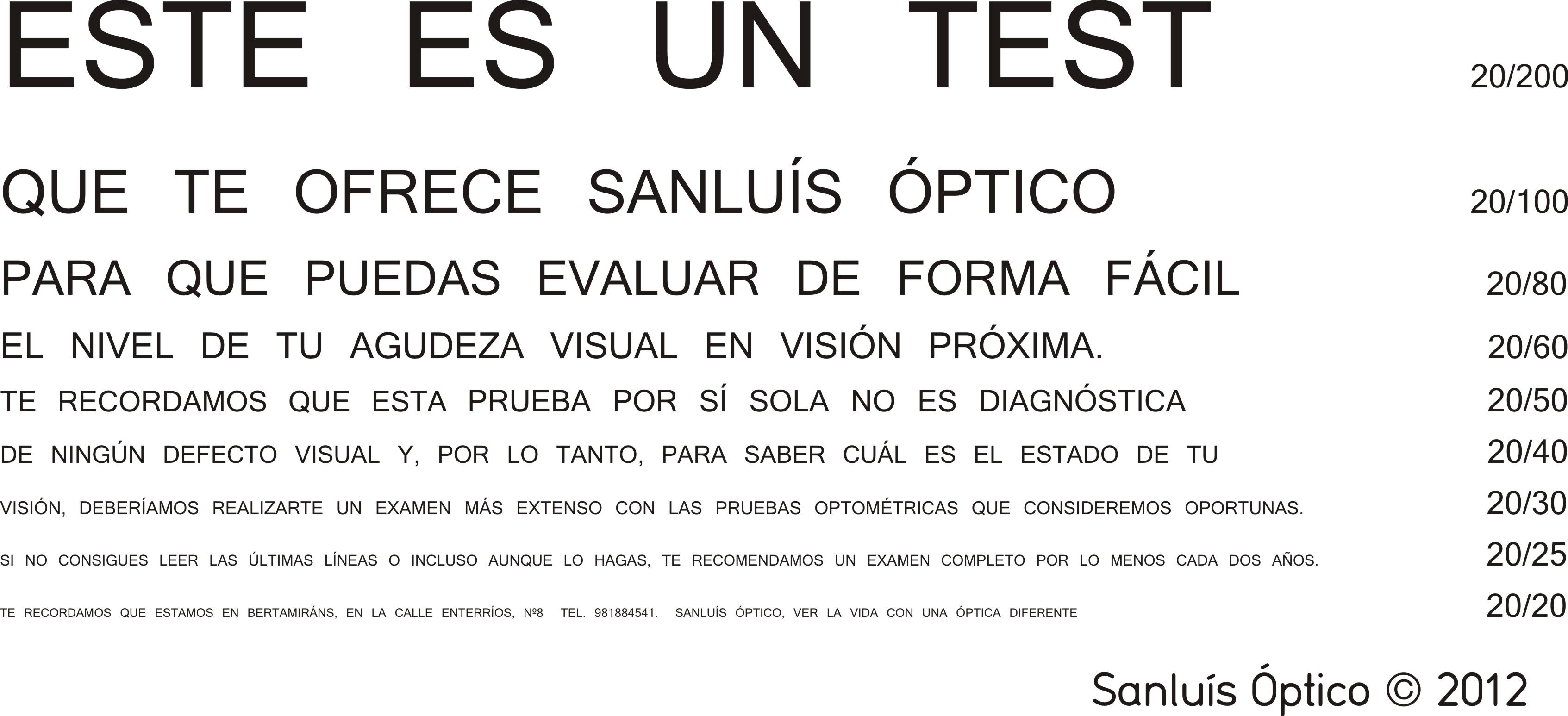 7b8db03422 Test de agudeza visual de visión próxima | Sanluis Optico